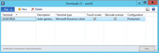 AX 2012 Terminals