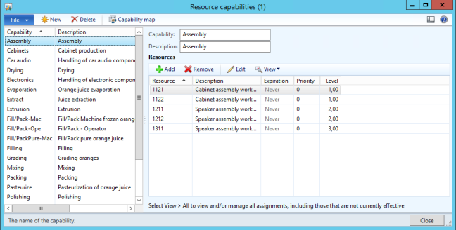 AX 2012 Prod Resource Capabilities