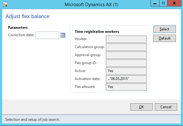 AX2012 Adjust flex balance