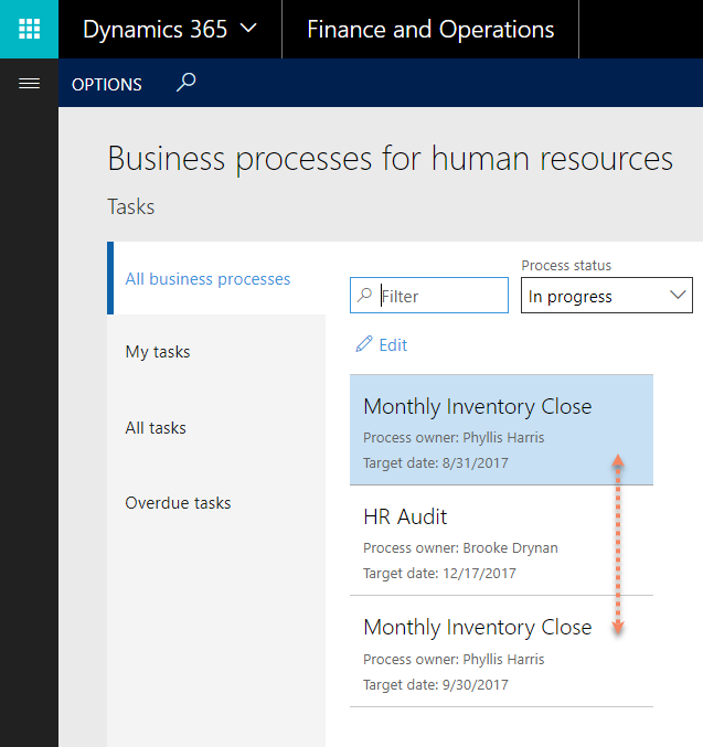 New business processes feature finance and operations community anyone can view the ongoing processes in the business processes for hrpayroll work space which has a filter for each process type and has the all and fbccfo Gallery